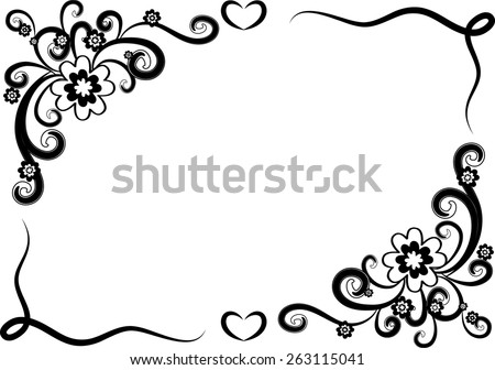 Vector Design Flowers Border Black White Stock Vector Royalty Free