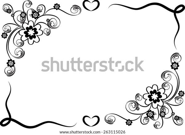 Flower Designs Black And White Border PNG Images, Transparent Flower  Designs Black And White Border Image Download - PNGitem