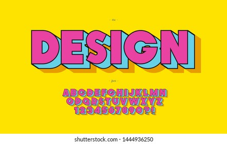 Vector design font pop art style for banner, infographics, motion graphic, party poster, kids book, t shirt, flyer, decoration, printing on fabric, industrial. Cool typeface. Trendy alphabet. 10 eps