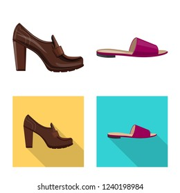Vector design of footwear and woman symbol. Collection of footwear and foot stock symbol for web.