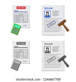 Vector design of form and document icon. Set of form and mark stock vector illustration.