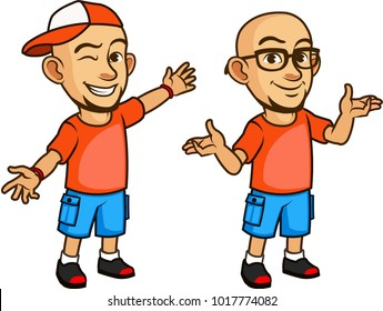 Vector Design of Funny and Friendly Bald Geeky Guy Cartoon