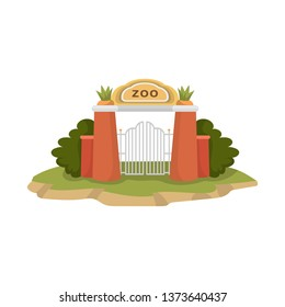 Vector design of gate  and arch sign. Set of gate  and wall stock symbol for web.