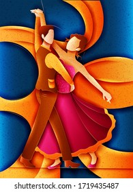 Vector design of German Couple performing Schuhplattler dance of Germany