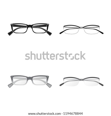 19287ae7f054 Vector design of glasses and frame icon. Collection of glasses and  accessory vector icon for stock. - Vector
