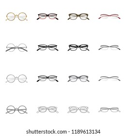 Vector design of glasses and frame logo. Collection of glasses and accessory vector icon for stock.