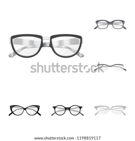 09717ed58720 Vector design of glasses and frame logo. Collection of glasses and  accessory stock symbol for