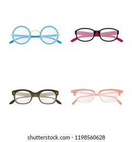 Vector design of glasses and frame symbol. Set of glasses and accessory stock vector illustration.