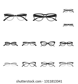 Vector design of glasses and frame symbol. Set of glasses and accessory stock symbol for web.