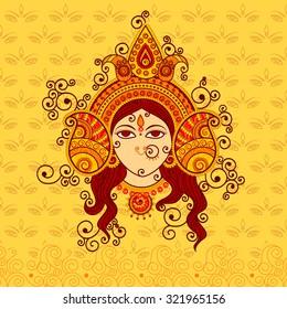 Vector design of Goddess Durga in Indian art style