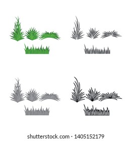 Vector design of grass and bush icon. Collection of grass and garden vector icon for stock.
