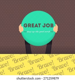 Vector Design of Great Job Lettering, Flat Long Shadow Style Card Hold Hands Vector Design