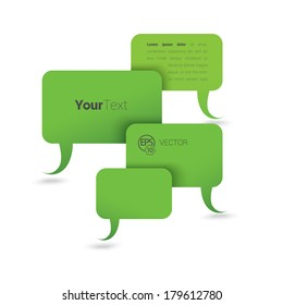 Vector design. Green edition of an abstract 3d corporate composition of four speech bubbles in white space. Brand icon holder or layout element for print, for web or for infographics illustration.