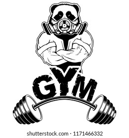 Vector design for a gym with an abstract image of a strong panda