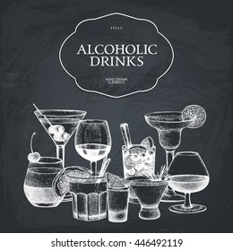 Vector design with hand drawn alcoholic cocktails illustration. Vintage beverages sketch background. Retro drinks template for menu  isolated on chalkboard