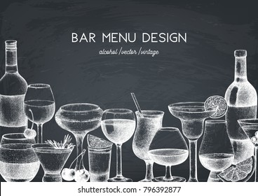 Vector design with hand drawn drinks illustration. Vintage beverages sketch background. Retro template isolated on chalkboard. Restaurant or cafe menu template.