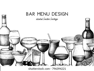 Vector design with hand drawn drinks illustration. Vintage beverages sketch background. Retro menu template for cafe or restaurant