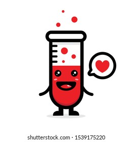 vector design of the happy Chemistry flask mascot