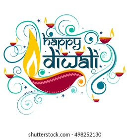 Vector design of Happy Diwali typography in calligraphy style for festival of India