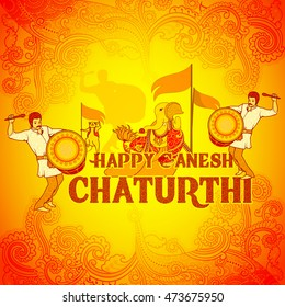 Vector design of Happy Ganesh Chaturthi background in Indian art style