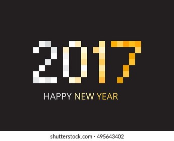 Vector design Happy New Year 2017 with squares.