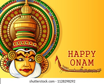 Vector design of Happy Onam festival background of Kerala in Indian art style