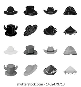 Vector design of hat and cap symbol. Set of hat and model vector icon for stock.