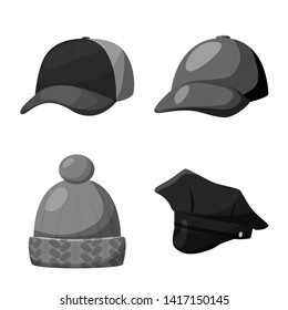 Vector design of hat and helmet icon. Set of hat and profession stock symbol for web.