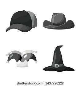 Vector design of hat and helmet symbol. Collection of hat and profession vector icon for stock.