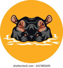Vector Design of the Head of Hippo on the Water
