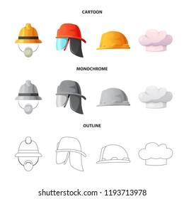 Vector design of headgear and cap logo. Collection of headgear and accessory vector icon for stock.