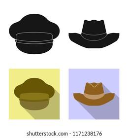 Vector design of headwear and cap logo. Collection of headwear and accessory vector icon for stock.