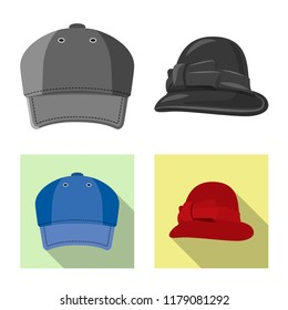 Vector design of headwear and cap sign. Collection of headwear and accessory stock vector illustration.