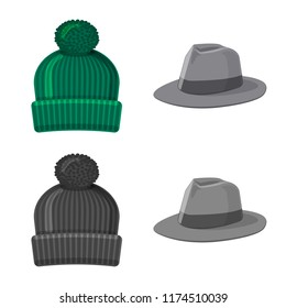 Vector design of headwear and cap symbol. Set of headwear and accessory stock symbol for web.