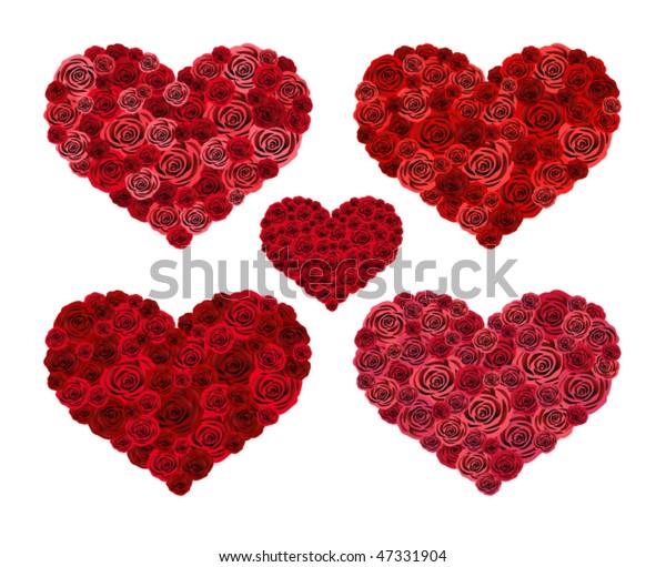 Vector Design Hearts Roses Stock-Vektorgrafik (Lizenzfrei ...