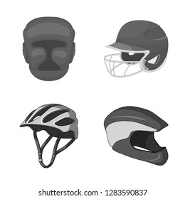 Vector design of helmet and sport symbol. Collection of helmet and moto stock symbol for web.