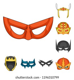 Vector design of hero and mask logo. Collection of hero and superhero stock vector illustration.