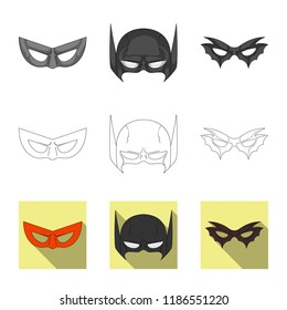 Vector design of hero and mask symbol. Set of hero and superhero stock symbol for web.