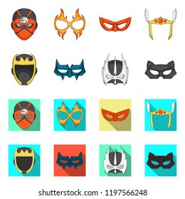 Vector design of hero and mask symbol. Collection of hero and superhero vector icon for stock.