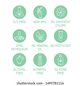 vector, design, icon, leaf, silicone, alcohol, approved, badge, beauty, bio, bpa, certified, clean, colors, cosmetics, eco, ecology, element, emblem, fragrance, free, gmo, ingredients, label, line, li