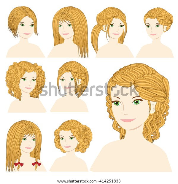 Vector Design Icon Set Beautiful Blonde Stock Vector (Royalty Free) 414251833