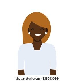 Vector design illustration black woman character. Office Woman . Professional uniform. On a white background