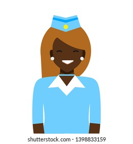 Vector design illustration black woman character.Stewardess Woman . Professional uniform. On a white background. Airport work