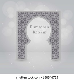 vector design illustration greeting card or cover, of Islamic mosque gate with islamic ornaments and Ramadan Kareem label. composition of muslim holy month
