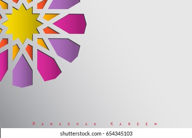 vector design illustration greeting card or cover, of Islamic ornaments and Ramadan Kareem label. composition of muslim holy month