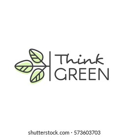 Vector Design Illustration with Hand-Lettering Text Logo Think Green Concept - Ecology and Green Energy  in Trendy Linear Style