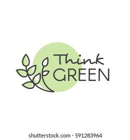 Vector Design Illustration with Hand-Lettering Text Logo Think Green Concept - Ecology and Green Energy  in Trendy Linear Style with Leaf Plant Element