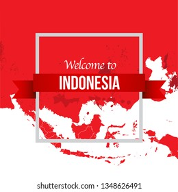 Vector design Illustration of Indonesia flag, map with wording welcome to Indonesia