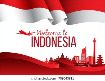 Vector design Illustration of Indonesia flag with wording welcome to Indonesia