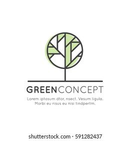 Vector Design Illustration Logo Tree and Forest Concept - Ecology and Green Energy in Trendy Linear Style with Leaf Plant Element, Anti Deforestation Banner